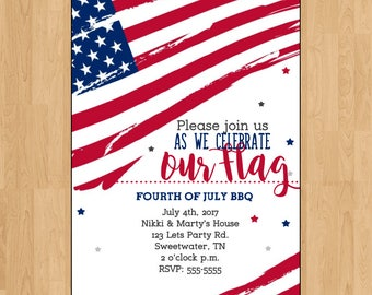 American Flag|invite|invitation|4th of july|patriotic|party|red white blue|stars and stripes|memorial day|digital|printed|veterans day