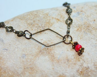 Necklace short diamond metal and Red bead