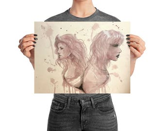 Princess - Wine on Watercolor Paper - Poster