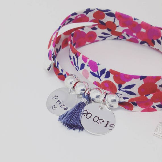Bracelet GriGri XL Liberty with 2 custom ENGRAVINGS and tassel by Palilo