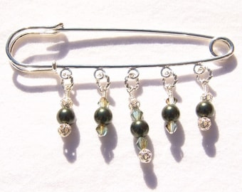 Olive Green Pearl Crystal Beaded Filigree Shawl Brooch Kilt Pin