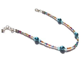 Sky Blue Multi Color Beaded Ankle Bracelet 9