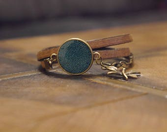 Leather Bracelet Brown bronze and blue
