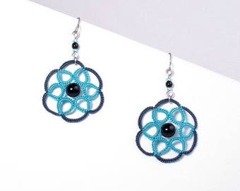 Lace rosette blue and turquoise earrings