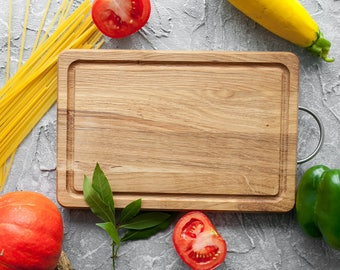 Chopping Board Solid Oak Wood Cutting Board With Stainless Steel Handle Serving Cheese Board