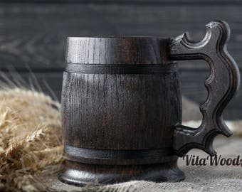 Wooden Mug, Beer Lover Gift, Wooden Beer Mug, Anniversary Gift, Housewarming Gift, Groomsmen Beer Mug, Dad Beer Mug
