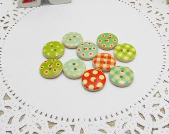 10 x polka dots and gingham tile color 15mm wooden buttons
