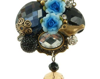 Chic polymer clay flowers brooch rhinestone bird blue black Crystal beads bronze