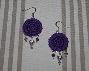 Purple cotton crocheted earrings Swarovski Crystal and silver