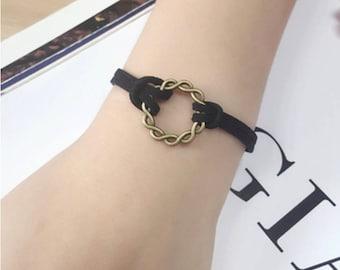 Leather woven circle bracelet