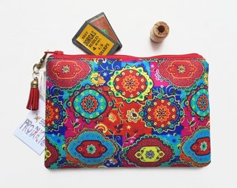 Mum gifts, Colourful, Indian print,  small zipper bag, travel bag, wallet, zipper pouch.