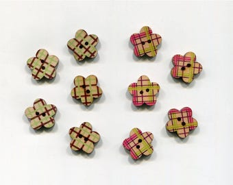 set of 10 flower wood buttons * 2 * 17 mm checkered pattern