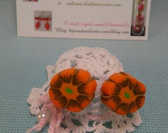 #22 # Stud Earrings, Fleur Orange Brown & green polymer