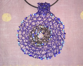 Blue and black Black pendant embroidered with seed beads
