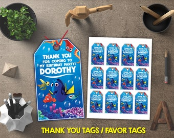 Finding Dory Thank You Tags, Finding Dory Favor Tags, Finding Dory Gift Tags, Finding Dory Tags Printables