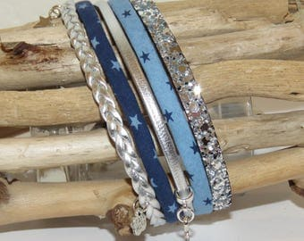 "Cuff Bracelet, multi-row, blue, sky blue, silver, leather, suede glitter, charms Star ""Milky"" bracelet for women."