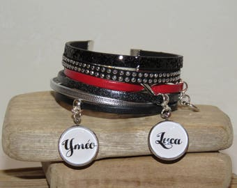 Cuff Bracelet personalized with 2 first names of your choice of leather and suede, black, red and silver