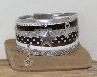 Black, white and silver leather Cuff Bracelet, Star charm, with magnetic clasp