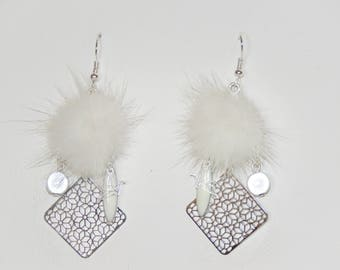 "Tassel earrings white fur, geometric prints, charms, ""earrings Poumpoumpidou"" Pimprenellecreations"