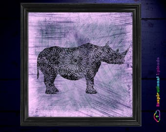 "Rhino - 12"" x 12"" HD Digital Print"