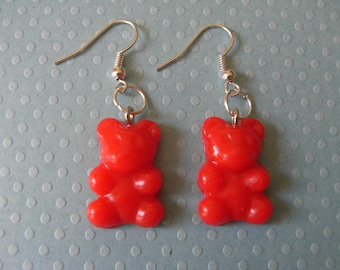 POLYMER CLAY TEDDY BEAR RED EARRINGS