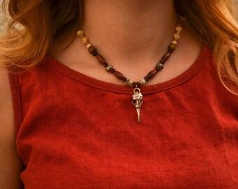 "Necklace ""Pagan skull bird"" wood beads"