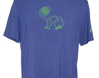 Made in France in bamboo - monkey - men tee lines Nazca - customizable