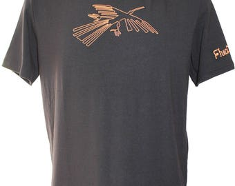 T-shirt man made in France in bamboo - Condor - lines Nazca - customizable