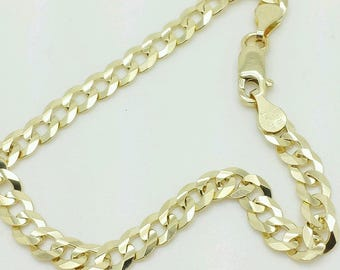 10k Solid Yellow Gold Cuban Curb Bracelet Chain 4.7mm