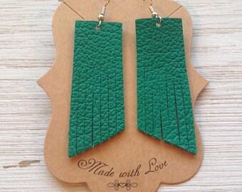Green Leather Tassel Earrings, Leather Earrings, Fringe Earrings, Statement Earrings, Boho
