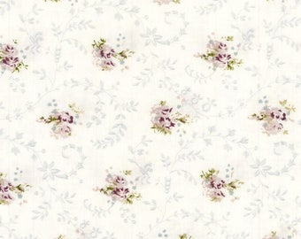 Oilcloth pattern scattered small flowers purple on white background
