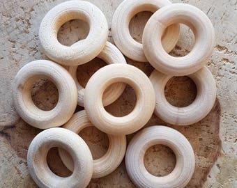 Set of 10 rings wood 13mm