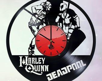 Harley Quinn and Deadpool Vinyl Record Wall Clock