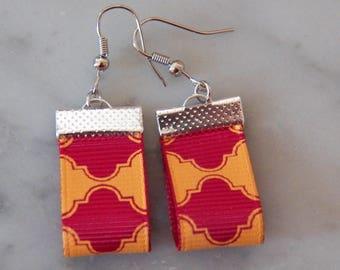 Earrings yellow gold and Burgundy fabrics