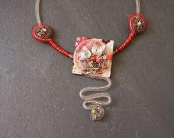 Necklace ceremony original Burgundy fimo & charm