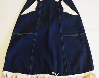 Vintage Ranch - Western style Skirt Demin and Leather fringe - Size 24