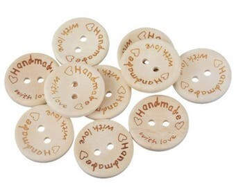 Set of 10 wooden buttons handmade with love.