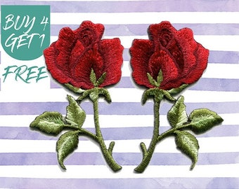 Red Rose Patch Flower Patches Iron On Patch Embroidered Patch Romantic Love