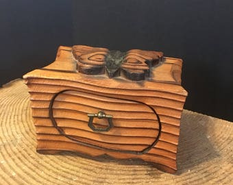 Carved Box, Wood Box, Butterly, Vintage