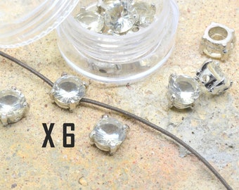 rhinestone 6 x 8 mm silver plated metal and white CZ