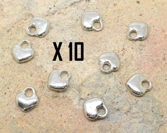 10 x charm love heart love silver metal