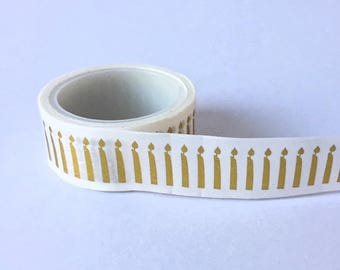 Birthday washi tape with a pattern of gold candles// Decoration Gift wrapping Masking Bullet Journal shiny card celebration party golden