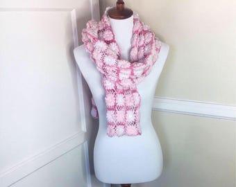 Crochet Lifted Flower Scarf, Long Flower Scarf
