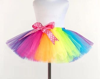 Super fluffy rainbow multi color colorful girls tutu skirt with bow
