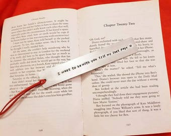 Valentine's Day Gift / Aluminium, metal stamped bookmark / For him / For her