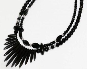 Black necklace, chunky necklace, Bead necklace, Layered necklace, Double strand necklace, Short necklace, Edgy necklace, Black bead necklace