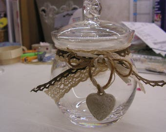 Old candy makeover, sugar bowl, glass jar, lace and heart