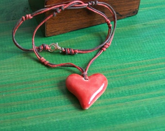 Ceramic Earth and jewelry Heart Necklace