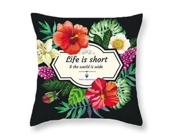 Throw Pillows With Flowery Frame on a Dark Background