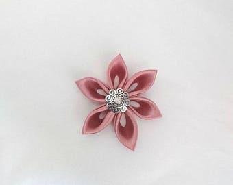 Flowers kanzashi handmade old pink satin